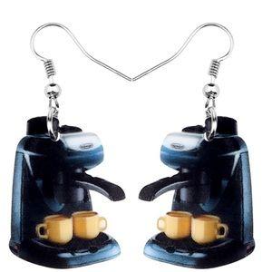 Espresso Coffee Machine Acrylic Earrings